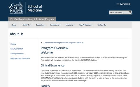 Screenshot of About Page case.edu - About Us | Certified Anesthesiologist Assistant Program | CWRU - Certified  Anesthesiologist Assistant Program - Case Western Reserve University - captured May 14, 2016