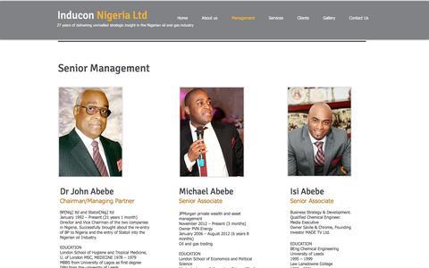 Screenshot of Team Page induconltd.com - Inducon Nigeria Ltd staff John Abebe - captured Nov. 19, 2016