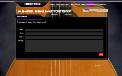 Screenshot of Contact Page lukejazz.com - Contact - Lukejazz Music - captured Nov. 15, 2016