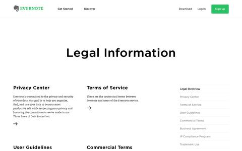 Screenshot of Terms Page evernote.com - Legal Information | Evernote - captured May 27, 2017