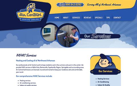 Screenshot of Services Page aircontrolcorp.com - HVAC Services | Northwest Arkansas | Air Control - captured Nov. 12, 2018