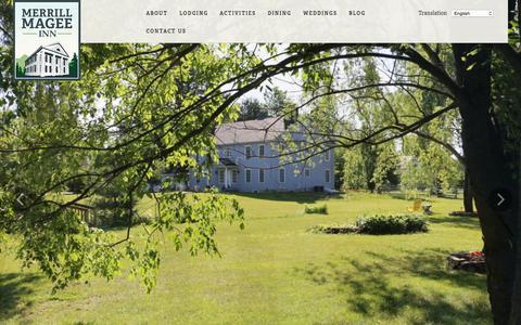 Screenshot of Home Page merrillmagee.com - Merrill Magee Inn - Historic Adirondack Country Inn - captured Oct. 9, 2015