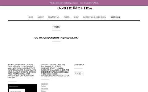 Screenshot of Press Page josiechenrange.com - Press - Josie Chen Range - captured June 8, 2017