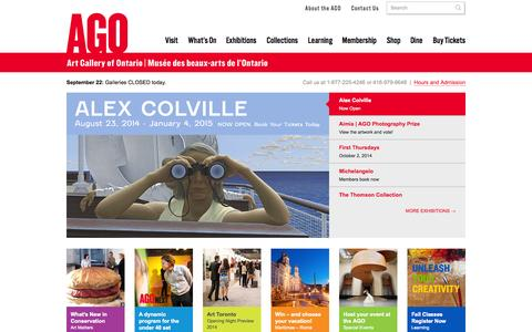 Screenshot of Home Page ago.net - Home | AGO Art Gallery of Ontario - captured Sept. 19, 2014
