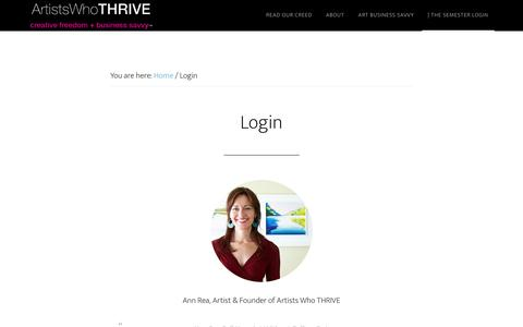 Screenshot of Login Page artistswhothrive.com - Login - Artists Who THRIVE - - captured July 26, 2016