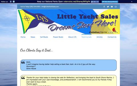 Screenshot of Testimonials Page littleyachtsales.com - Little Yacht Sales -   Testimonials - captured July 15, 2016