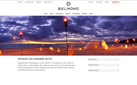 Screenshot of Terms Page belmond.com - Copyright Notice - Belmond Collection - captured July 13, 2017