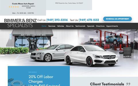 Screenshot of Home Page bimmerfixer.com - Costa Mesa Auto Repair - Costa Mesa Auto Repair - captured Jan. 21, 2019