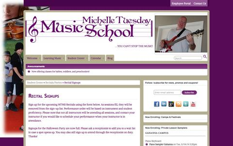 Screenshot of Signup Page michelletuesday.com - Recital Signups » Michelle Tuesday Music School - captured Nov. 3, 2014