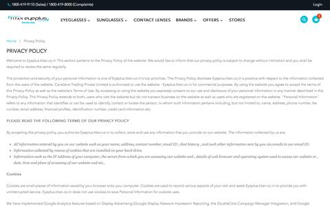 Screenshot of Privacy Page titan.co.in - Privacy Policy - captured July 9, 2017
