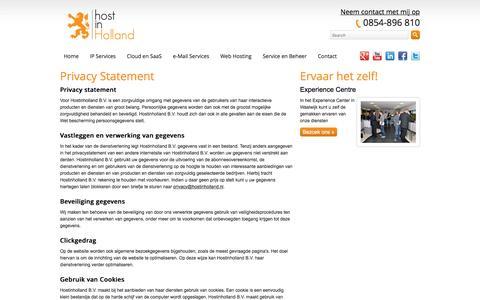 Screenshot of Privacy Page hostinholland.nl - Privacy Statement | Hostinholland b.v. - captured Dec. 5, 2015