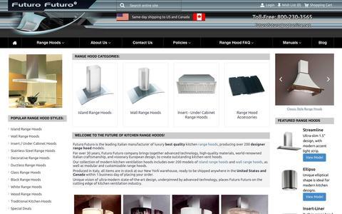 Screenshot of Home Page futurofuturo.com - FuturoFuturo Range Hoods and Vent Hoods: FuturoFuturo.com - captured Aug. 4, 2016