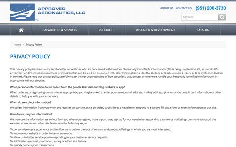 Screenshot of Privacy Page approvedaeronautics.com - Approved Aeronautics -  Privacy Policy - captured Feb. 5, 2016