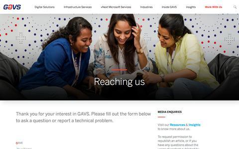 Screenshot of Contact Page gavstech.com - Reaching us - captured July 4, 2018