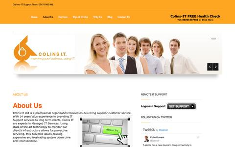 Screenshot of About Page colins-it.co.uk - About Us IT Support Coventry - Managed IT Support Coventry - captured Nov. 9, 2016
