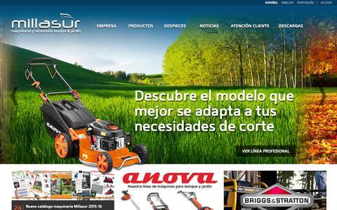 Screenshot of Home Page millasur.com - Millasur, maquinaria y recambios para bosque y jardín - captured June 19, 2015