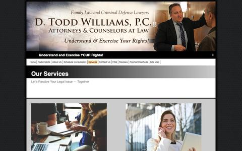 Screenshot of Services Page dtoddlaw.com - D. Todd Williams, P.C., Attorneys at Law: Troy, Michigan Law | Services - captured Oct. 7, 2018