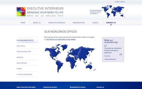 Screenshot of Contact Page executiveinterviews.biz - Our worldwide offices –  Executive Interviews – Bringing your news to life - captured Sept. 23, 2014