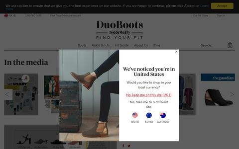 Screenshot of Press Page duoboots.com - In the Media | DuoBoots - captured Oct. 9, 2018