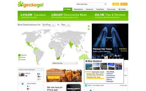 Screenshot of Home Page Blog geckogo.com - Travel Guides, Vacation Planning and Reviews - GeckoGo - captured Sept. 16, 2014