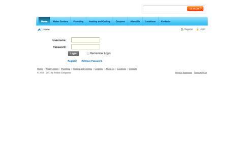Screenshot of Login Page finkens.com - User Log In - captured Oct. 6, 2014