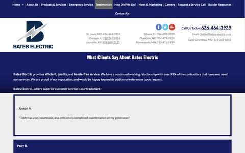 Screenshot of Testimonials Page bates-electric.com - Electrical Repair St Louis MO, Louisville KY & Miami FL - Bates Electric, Inc. - captured Dec. 18, 2018