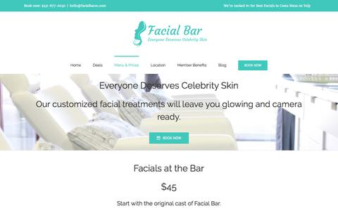 Screenshot of Menu Page facialbaroc.com - Facial Treatment Menu & Prices - Walk In / Book Now - captured Aug. 3, 2016