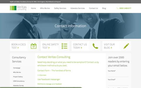 Screenshot of Contact Page veritas-consulting.co.uk - Contact Veritas Consulting Health and Safety Consultants & CDM Coordinators - captured Nov. 6, 2017