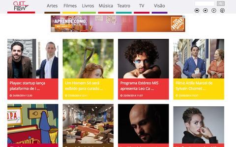Screenshot of Home Page cultflow.com - CultFlow - Sua Fonte de Entretenimento e Cultura - captured Sept. 30, 2014