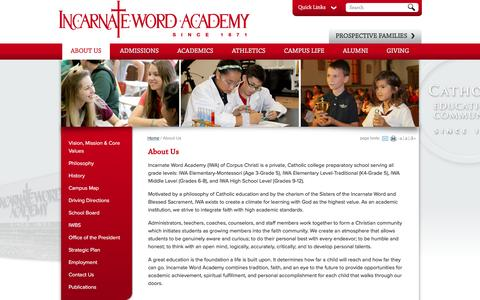 Screenshot of About Page iwacc.org - Incarnate Word Academy: About Us - captured May 30, 2016