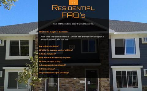 Screenshot of FAQ Page threesixty.bz - Residential FAQ's - captured Feb. 16, 2016