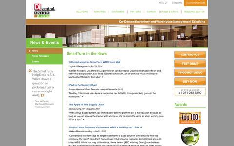 Screenshot of Press Page smartturn.com - On Demand Inventory and Warehouse Management Solutions - SmartTurn News - captured Sept. 12, 2014