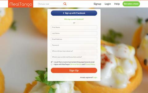 Screenshot of Signup Page mealtango.com - MealTango-Sign Up-Dine with locals. - captured Oct. 27, 2014