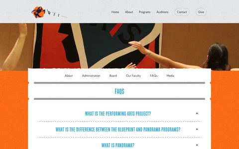 Screenshot of FAQ Page performingartsproject.com - FAQs Archive - The Performing Arts Project - captured Nov. 16, 2017