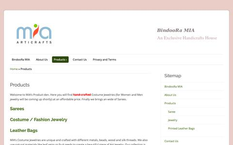 Screenshot of Products Page miaart.in - Products – BindooRa MIA - captured Oct. 1, 2018