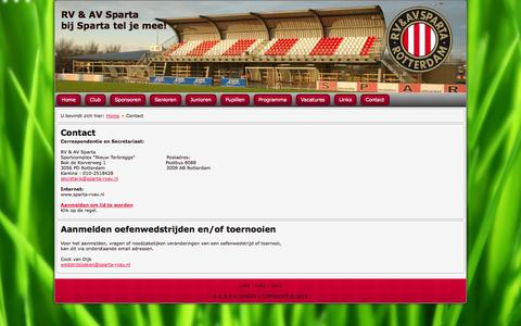 Screenshot of Contact Page sparta-rvav.nl - Contact - captured Oct. 6, 2014