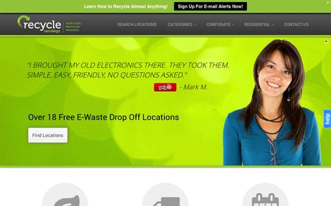 Screenshot of Home Page recyclesandiego.org - E-waste Battery & Light Bulb Recycling | 17+ Locations for eWaste Drop-Off in San Diego County! - captured Sept. 30, 2014