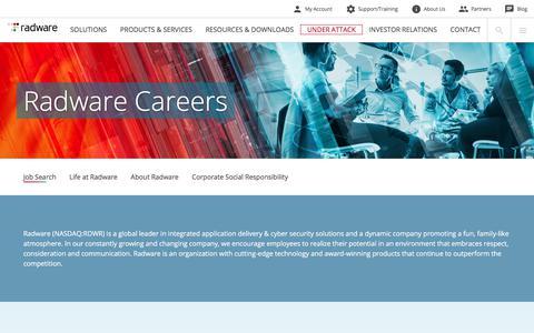 Screenshot of Jobs Page radware.com - Radware: Careers - captured Aug. 9, 2018