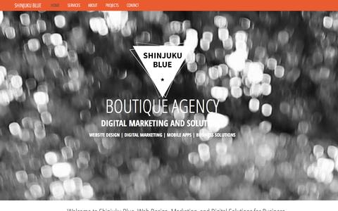 Screenshot of Home Page About Page Contact Page Services Page shinjukublue.com - shinjuku blue agency | web design / online marketing / brand design / copywriting / social media / ecommerce / email marketing / mobile app design - captured Oct. 1, 2014
