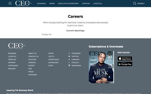 Screenshot of Jobs Page theceomagazine.com - Jobs & Careers | The CEO Magazine - captured Oct. 20, 2018