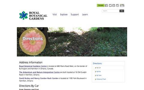 Screenshot of Maps & Directions Page rbg.ca - Royal Botanical Gardens - captured Oct. 9, 2017