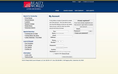Screenshot of Login Page leverandrussell.com - My Account - captured Oct. 2, 2014