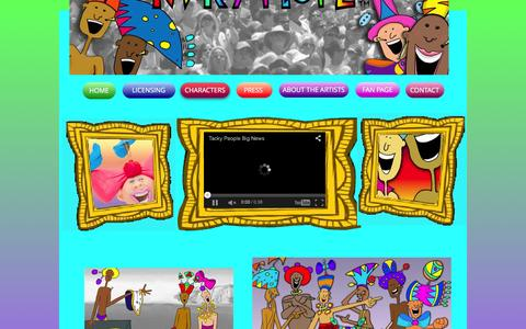 Screenshot of Home Page tackypeople.com - Tacky People - Art For Sale, Artwork, Motion Graphics - captured Jan. 10, 2016