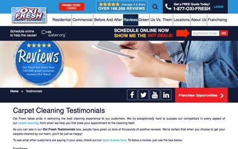 Screenshot of Testimonials Page oxifresh.com - Carpet Cleaning Testimonials | Oxi Fresh - captured Aug. 18, 2019