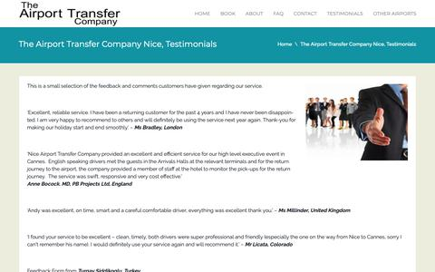 Screenshot of Testimonials Page airport-transfer-company.com - The Airport Transfer Company Nice, Testimonials   The Airport Transfer Company - captured Oct. 19, 2018