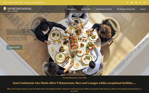 Screenshot of Home Page dining-intercontinental-ad.ae - Restaurants in Abu Dhabi | InterContinental Abu Dhabi - captured July 2, 2017