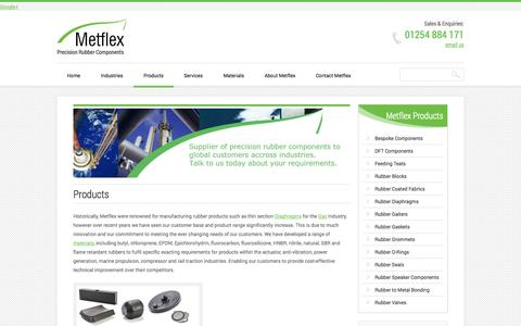 Screenshot of Products Page metflex.co.uk - Precision Rubber Products, Bespoke Items and Compounds ManufacturedMetflex - captured Oct. 27, 2014