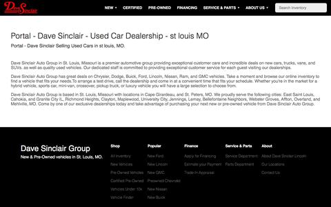 Screenshot of About Page davesinclair.com - Portal - Dave Sinclair - Used Car Dealership - st louis MO - captured July 15, 2019