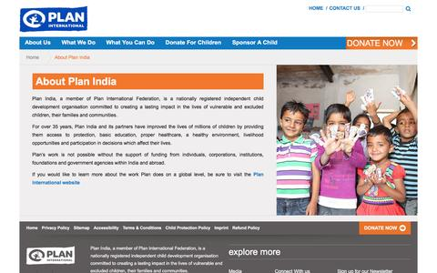 Screenshot of About Page planindia.org - Plan India - captured Dec. 9, 2015