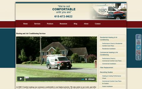 Screenshot of Services Page dhccomfort.com - DHC Comfort Heating and Air Conditioning Services - captured Oct. 7, 2018